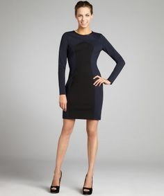 A.B.S. by Allen Schwartz : midnight blue and black stretch ponte knit colorblock dress : style # 319099001