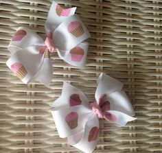 Set Of 2 Cupcake 3 Hair Bows by mlmissal on Etsy, $4.50