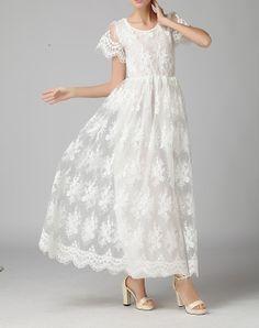 White chiffon lace dress maxi dress party by fashionwomanstore, $62.00