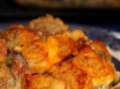 Yum! I'd Pinch That | Tator Tot Casserole w/Bacon #recipe #justapinch