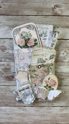 This printable kit includes everything you need to make a beautiful vintage loaded envelope in shades of pale pinks and soft gray-blues. Add it to your junk journal; also makes a lovely gift. Album Vintage, Vintage Tags, Vintage Bookmarks, Vintage Birds, Vintage Ephemera, Vintage Paper, Junk Journal, Journal Cards, Handmade Tags