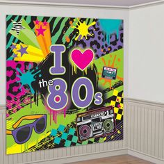 5ft 1980s Theme Scene Setter Wall Decoration Photo Prop Birthday Party Banner