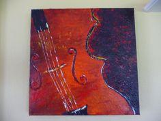 orange violin by Texas artist Diane Kraft