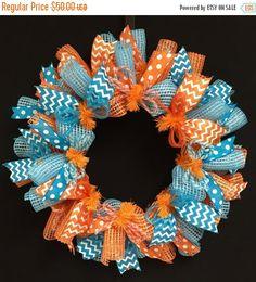 SUMMER SALE  Summer Fun Turquoise Orange Wreaths by wreathsbyrobin