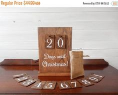 On Sale Rustic Christmas Countdown - Advent Calendar - Christmas Decorations - Rustic Christmas Decorations - Holiday Decorations- Country C by NaturalDesignsByRio on Etsy https://www.etsy.com/listing/249841569/on-sale-rustic-christmas-countdown