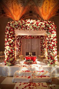 The Indian wedding ceremony mandap. A photograph showing the the floral used to decorate the entire mandap. Desi Wedding Decor, Wedding Hall Decorations, Marriage Decoration, Wedding Mandap, Wedding Colors, Wedding Venues, Wedding Ceremony, Wedding Flowers, Purple Wedding