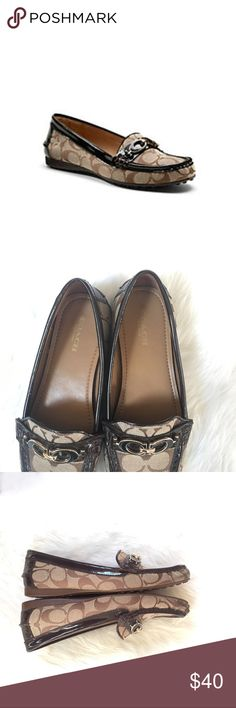🆕Coach Brown Fortunata Driver Loafers Coach updates the iconic loafer with a pod driver sole, enameled custom hardware and glossy patent leather trim on this graphic signature design. Soft leather linings and plush padding provide luxury from within.  Signature fabric with patent leather Rubber sole   Excellent condition with the exception of the front as shown in the photos, price absolutely reflects that. A cobbler could probably mend it. Clean insoles and hardly worn soles.  Please view…