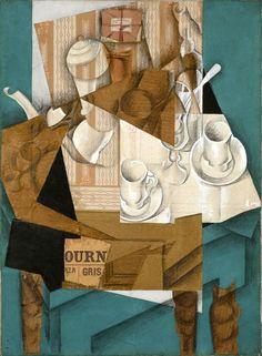 Café da manhã (1914) - Juan Gris - Museum of Modern Art - MoMA Os papéis colados, inventados por Georges Braque e Pablo Picasso em 1912, encontraram uma expressão rica e complexa nas obras de Gris. Na concepção, seus (papiers collés) estão mais perto das pinturas que das composições mais contidas de seus precursores; ao contrário deles, Gris cobre toda a superfície com papéis colados e pintura. Em obras como o café da manhã, a utilização de Gris de papéis impressos é mais literal do