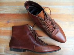 shopmycloset: the shop-blog: [SOLD] Vintage Colorblock Leather Lace Up Ankle Boots $48