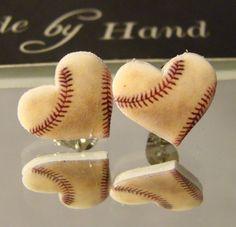 Baseball heart Stud Earrings - Baseball Mom Jewelry - I love baseball Jewellery - worn baseball Baseball Jewelry, Baseball Crafts, Baseball Boys, Baseball Stuff, Baseball Jerseys, Travel Baseball, Baseball Wreaths, Baseball Necklace, Baseball Fashion