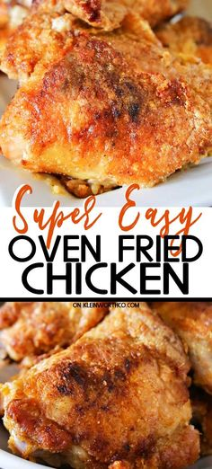 Simplify your dinner with this Oven Fried Chicken that comes out crispy delicious in about an hour Less mess clean up the best baked chicken recipe Ever bakedchicken chicken friedchicken ovenfriedchicken easydinner dinner easyrecipes Oven Baked Fried Chicken, Best Baked Chicken Recipe, Recipe Using Chicken, Oven Chicken Recipes, Oven Recipes, Meat Recipes, Cooking Recipes, Simple Fried Chicken Recipe, Bake Chicken In Oven