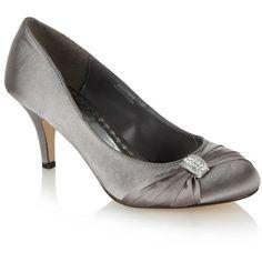Metallic diamante bow mid heeled court shoes found on Polyvore