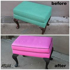 How to paint fabric on an upholstered footstool. Use this tutorial to paint upholstery and fabric on furniture without it cracking or being too stiff. The Magic Brush featured on Kenarry.com