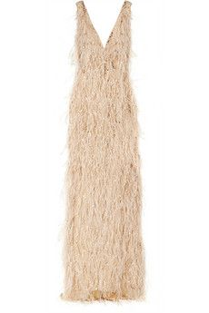 Oscar de la Renta Feather and crystal-embellished tulle gown | NET-A-PORTER