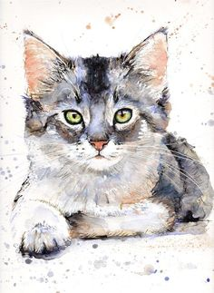 Watercolor Cat, Watercolor Animals, Watercolor Paintings, Watercolors, Cat Drawing, Painting & Drawing, Loro Animal, Paint Your Pet, Amazing Drawings