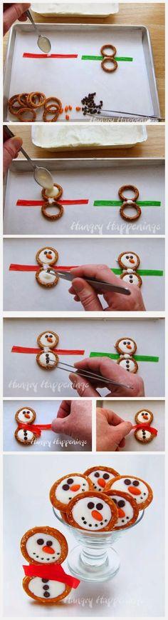 Frosty Snowman Pretzels