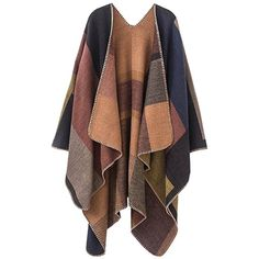 Khaki ONE SIZE Plus Size Color Block Collarless Poncho ($15) ❤ liked on Polyvore featuring outerwear, color block poncho, plus size poncho, style poncho, women's plus size ponchos and brown poncho