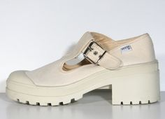 Chunky Cream Canvas 90s Guess T-Strap Platform Shoes - US Size 7.5. $60.00, via Etsy.