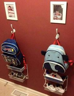 Kids items are all around the house. We have selected fantastic ideas to organize kids items for every room in the house and of course the car. Ideas Para Organizar, Kid Closet, Closet Ideas, Hall Closet, Shoe Closet, Organization Hacks, Backpack Organization, Storage Organizers, Kids Backpack Storage