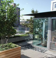 Modern Terrace Garden at Greenwich Penthouse in New York, NY - a design that highlights seasonal changes