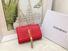 S/S 2015 Saint Laurent Bags Cheap Sale-Classic MONOGRAM SAINT LAURENT Tassel Satchel in Cherry Matelasse Leather
