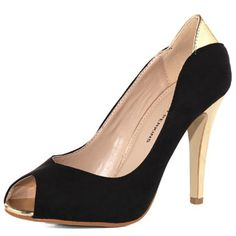 Black peep toe with gold accent