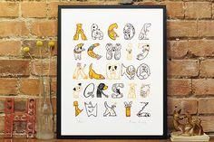 Dog ABC Screenprint Dog Breeds Alphabet Art by WetpaintArt on Etsy, £60.00