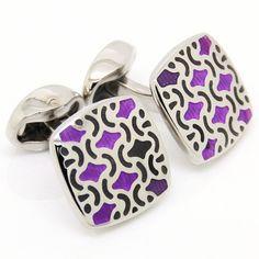 Soft Square Purple and Sliver Cufflinks