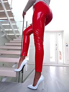 Love the look with Red leather pants and white pumps! Leather High Heels, Platform High Heels, Black High Heels, High Heels Stilettos, High Heel Boots, Shoes Heels, Red Leather Pants, Red Pants, Black Shoes
