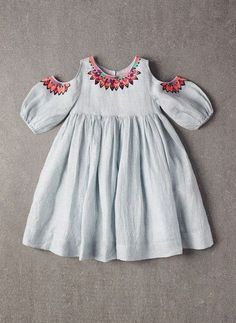 Nellystella Vanessa Dress in Frosty Breeze So cute. Too expensive. Little Girl Fashion, Toddler Fashion, Kids Fashion, Little Girl Dresses, Girls Dresses, New Mode, Baby Frocks Designs, Kids Frocks, Frock Design