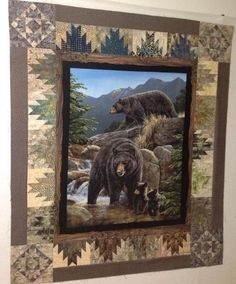 Bear Family Stream Animal : Life Of Bear Family In Stream Animal Nice Gift For Friends Fleece Blanket Fabric Panel Quilts, Lap Quilts, Wildlife Quilts, Quilt Boarders, Bear Paw Quilt, Rustic Quilts, Horse Quilt, Homemade Quilts, Quilt Block Patterns