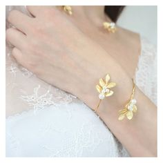 bracelet de mariage fantaisie - bracelet doré - bracelet de mariée avec des feuilles