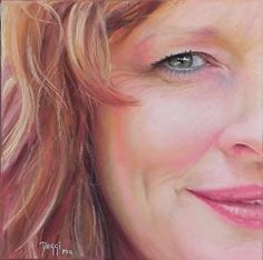 """Melissa"", 11x11"" pastel portrait of woman by Daggi Wallace. www.daggistudio.com"
