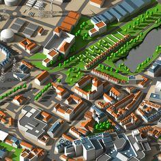 Detailed 3d generic organic cityscape scene.