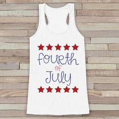 4th of July Tank Top - Women's 4th of July Tank - White Flowy Tank - Fourth of July Shirt - American Pride Top - Fourth of July Outfit