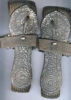Silver and wood sandals.19th century, India