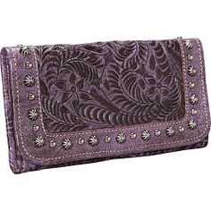 American West Forget-Me-Not Tri-fold Wallet Distressed Amethyst - American West Ladies Small Wallets