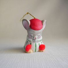 Jasco Porcelain Christmas Mouse Bell Ornament Praying Mouse