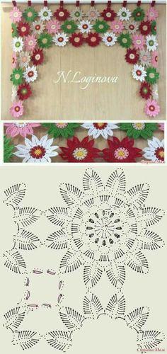 "Ламбрекен на кухонное окно от Наталья Deniz [ ""Crochet flower window ornament by tamara"" ] # # # # # # # # # Filet Crochet, Crochet Motifs, Crochet Flower Patterns, Crochet Diagram, Crochet Chart, Crochet Squares, Irish Crochet, Crochet Designs, Crochet Doilies"