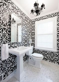 15 Bold Wallpaper Designs That Are Nothing Short Of Amazing Damask Bathroombathroom Wallpaperwhite