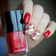 Evening dress nails, Fashion nails 2016, flower nail art, Fresh nails, Leaves nails, Nails with flowers, Party nails, Red and white nails