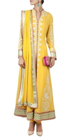 PATINE Yellow embroidered anarkali perniaspopupshop.com