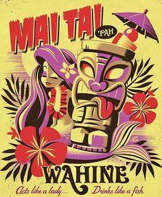 New tiki inspired art. I'm bringing this to the International Tiki Market Pl. New tiki inspire Tiki Tattoo, Hawaiian Art, Hawaiian Tattoo, Vintage Tiki, Vintage Hawaii, Tiki Art, Tiki Tiki, Tiki Hawaii, Tiki Bar Decor