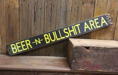 This Bar Sign Tavern Sign BEER & BULLSHIT Area Rustic Wood is just one of the custom, handmade pieces you'll find in our signs shops. Man Cave Bar, Man Cave Room, Man Cave Signs, Man Cave Garage, Garage House, Garage Bar, Man Cave Basement, Garage Signs, Garage Walls