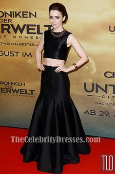 Lily Collins Black Prom Dress 'The Mortal Instruments City of Bones' Germany Premiere - TheCelebrityDresses