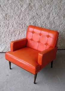 vintage orange vinyl chair