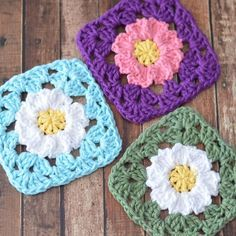 Crochet Daisy Granny Squares FREE PATTERN on https://www.thestitchinmommy.com/2014/04/crochet-daisy-granny-squares.html