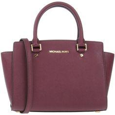 Michael Michael Kors Handbag ($275) ❤ liked on Polyvore featuring bags, handbags, deep purple, doctors bag, purple leather handbag, purple purse, handbag purse and man bag