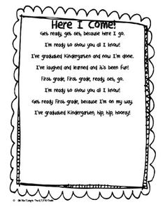 Hello Kinder Friends. This is a poem I have made for my class to be given to parents at the end of Kindergarten. We are using markers to color in t...