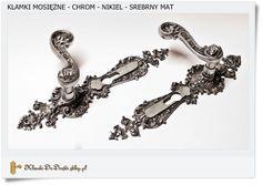 Klamki mosiężne do drzwi - Stare srebro, matowe (Chrom - Nikiel)
